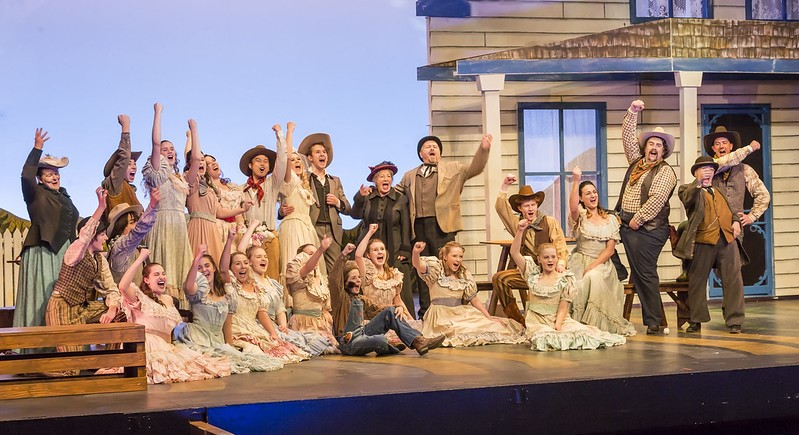 A stage scene from the theatrical production of Oklahoma on the Festival Place Stage.
