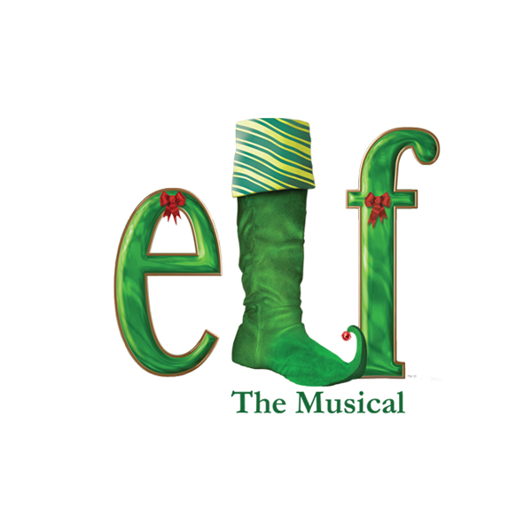 Elf The Musical Logo using a Christmas Stocking in the shape of an L.