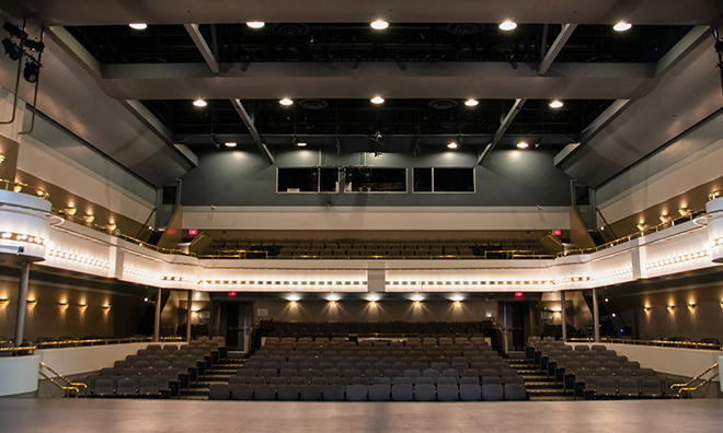 View of our theatre from the stage featuring the main floor, balcony and box seating.