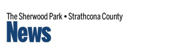 Logo The Sherwood Park Strathcona County in black text at top under it says News in large blue text