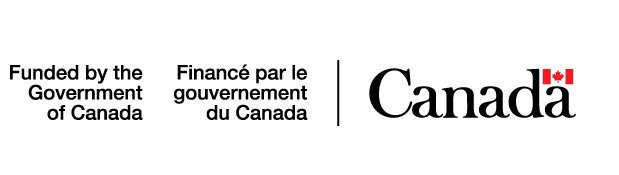 Government of Canada logo with funded by The Government of Canada writing, Red flag with white middle stripe containing red maple leaf,  Canada in black bold font