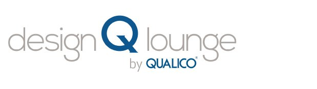 Logo reading Design Q Lounge by Qualico , large blue Q